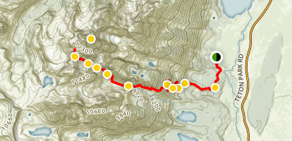 Garnet Canyon to The Lower Saddle Trail Map