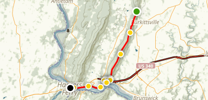 Cramtons Gap to Harpers Ferry on the Applachian Trail Map