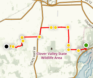 Ice Age Trail: Whitewater Lake-Clover Valley Connection Map