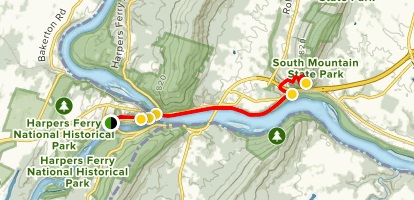 Harpers Ferry to Weverton Trail Map