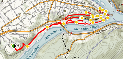 Harpers Ferry Lower Town Trail Loop Map