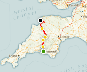 Plymouth to Saunton Sands - Coast To Coast Bike Ride Map