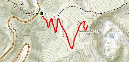 Colorado Mines Peak and Blue Lake Trail Map