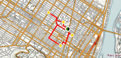 Plateau Mont-Royal Neighborhood Walking Tour Map