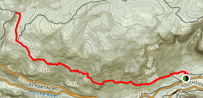 Old Big Oak Flat Road (from Yosemite Valley) Map
