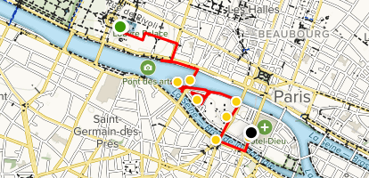 Louvre to Cathedrale Notre-Dame Map