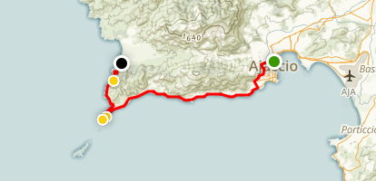 Ajaccio Bay to Sevani Beach  Map