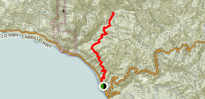 Kirk Creek Campground to Vicente Flat Trail Map