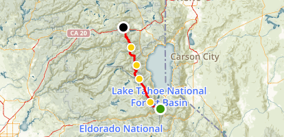 PCT: CA Section K - Echo Lake to Highway 80 Map