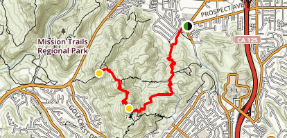 Cowles Mountain to Pyles Peak Trail Via Big Rock Trail  Map