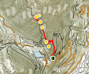 Le Catogne Mountain Trail from Champex Map
