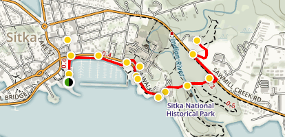 Sitka Walking Tour - Crescent Harbor to the Raptor Center Map