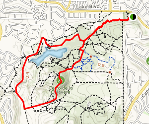 Lake Calavera via Oak Riparian Park Map