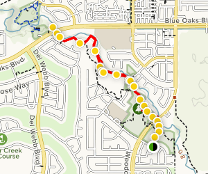 Pleasant Grove Creek Trail via Dirt Trail and Bike Path Map