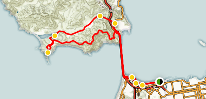 Chrissy Field to Marin Headlands via Golden Gate Bridge Map