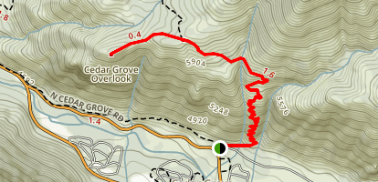 Hotel Creek Trail to Cedar Grove Overlook Map