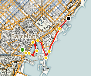 Barcelona Waterfront Walking Tour Map