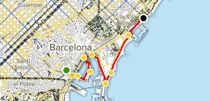 Map Of Spain With Barcelona.Barcelona Waterfront Walking Tour Catalonia Spain Alltrails
