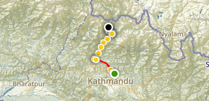Kathmandu MTB to Tatopani Hot-Springs (Langtang) Map