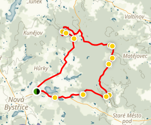 Landstejn, Roznov, Kaproun Loop Trail Map