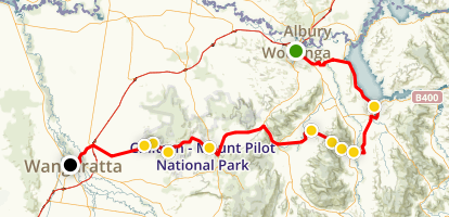 Bicycle Tour Wadonga to Wangaratta Map