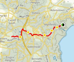 Glenrock Lagoon to Warners Bay on Great North Walk Map