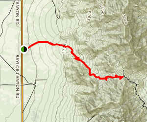Baylor Canyon Pass via Baylor Canyon Road Map