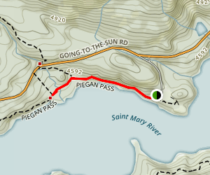 Baring Falls Via Piegan Pass Trail Map