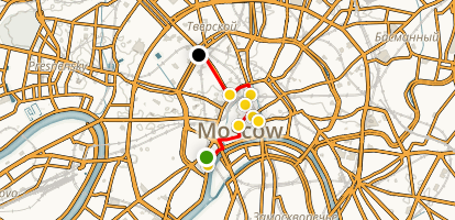 Moscow Highlights Walking Tour Map