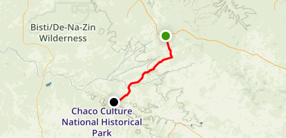 U.S. Highway 550 to Chaco Culture National Historic Park Map