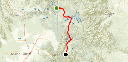 West Yellowstone to Jackson Scenic Drive Map
