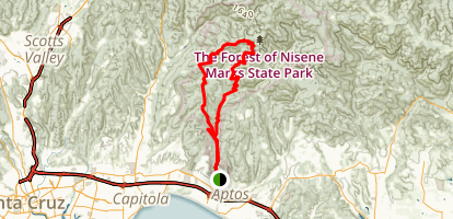 Aptos Creek and West Ridge Trail Loop to Sand Point Overlook Map