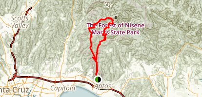Aptos Creek and West Ridge Trail Loop to Top of the Incline and Sand Point Overlook Map