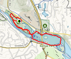 Furstenberg Nature Area and Gallup Park Trail Loop Map