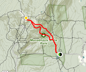Mount Monadnock via White Dot and White Cross Trails Map