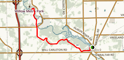 Huron River - Oakwoods Metro Park Path Map