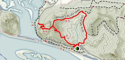 Brady's Bluff and Deer Me Run Trail Loop Map