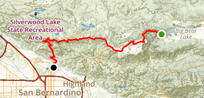 Rim of the World Scenic Drive: Big Bear Lake to San Bernardino Map