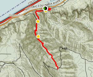 Horsetail, Ponytail, Oneonta, and Triple Falls via the Oneonta Trail Map