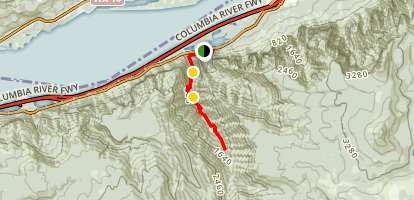 Horsetail, Ponytail, Oneonta, and Triple Falls via the Oneonta Trail (CLOSED) Map