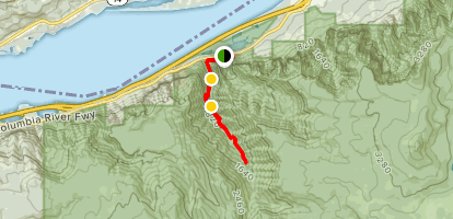 Horsetail, Ponytail, Oneonta, and Triple Falls via the Oneonta Trail [CLOSED] Map