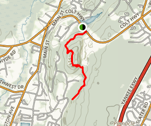 Pinnacle Rock via Metacomet Trail Map