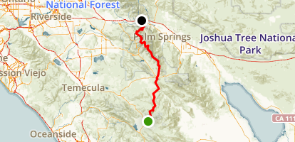 PCT: CA Section B - Warner Springs to Highway 10 Map