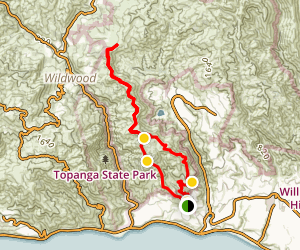 Los Liones Canyon and East Topanga Fire Road Trails to Parker Mesa Trail Map