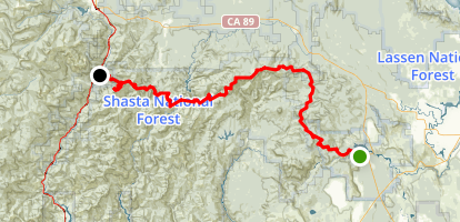 PCT: CA Section O - Burney Falls State Park to Highway 5 (Castle Crags) Map
