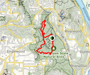 Middle Creek, North Horse, Lewis and Clark, Cedar, Old Main Map