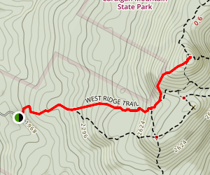 Mount Cardigan via West Ridge Trail Map