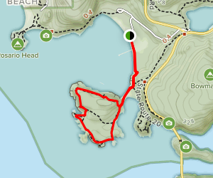 Lighthouse Point via Bowman Bay/Rosario Beach Trail  Map