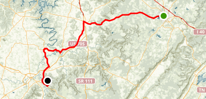 Rock Island and Cumberland Caverns: Crossville to McMinnville Map