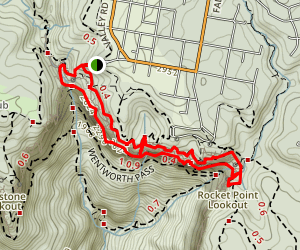 Valley of the Waters Loop Trail to Wentworth Falls and Rocket Point Lookout Map
